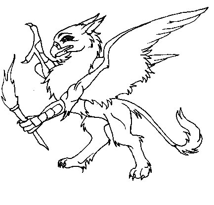 Rampant Gryphon With Torch